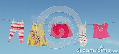 Laundry drying girl