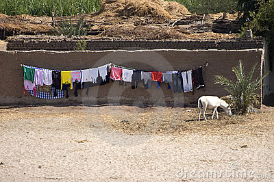 Laundry Drying, Nile River, Egypt Travel