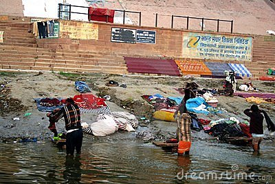 Laundry at the Ganges river Editorial Photo