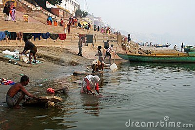 Laundry at the Ganges river Editorial Photography