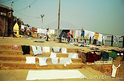 Laundry at Ganges river Editorial Image