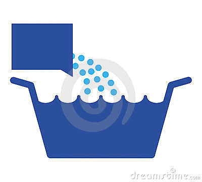 Laundry pelvis with detergent