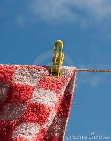 Laundry pin holding woolen cloth