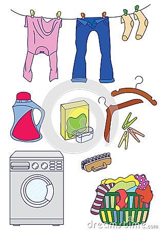Laundry related icon set