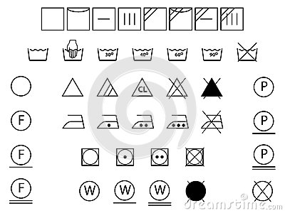 Laundry symbols black and white