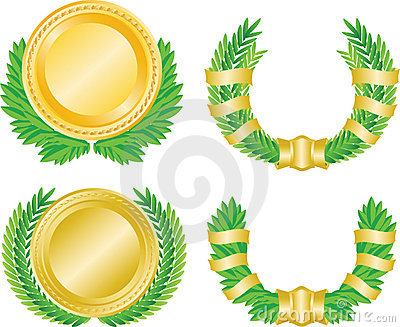 Laurel wreath and medal