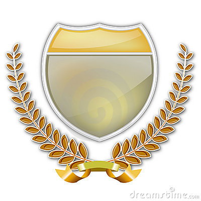 Laurel wreath and shield