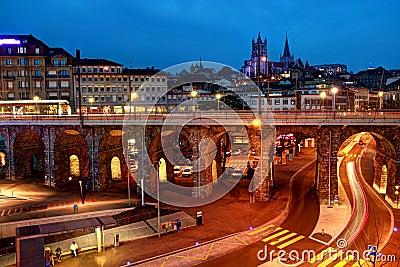 Lausanne de stad in, Zwitserland