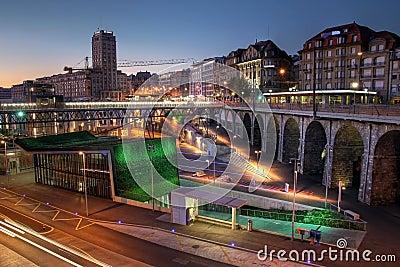 Lausanne Flon at twilight, Switzerland