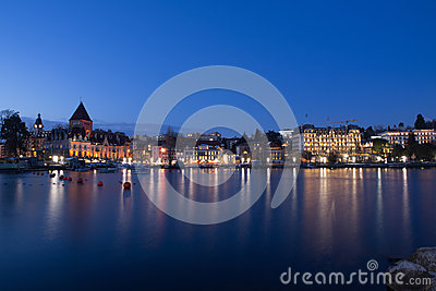 Lausanne Ouchy on Lake Geneva in Twilight