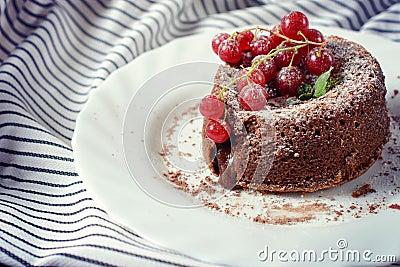 Lava cake in plate