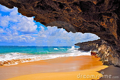 Lava cliffs on tropical beach