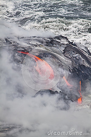 Lava erupting into Pacific Ocean in Hawaii