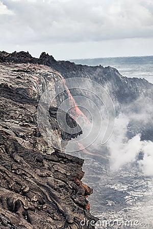 Lava erupting into Pacific Ocean in Hawaii