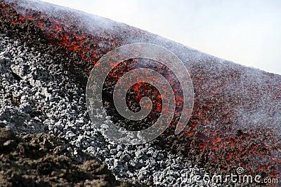 Lava flow on etna volcano