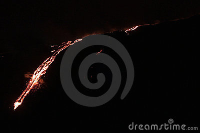 Lava flowing down the mountain