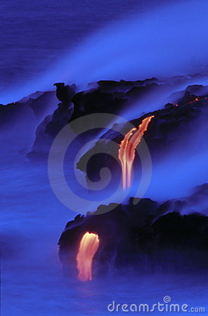 Free Lava Flowing Into The Sea Royalty Free Stock Photo - 1956475