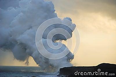 Lava flowing into sea