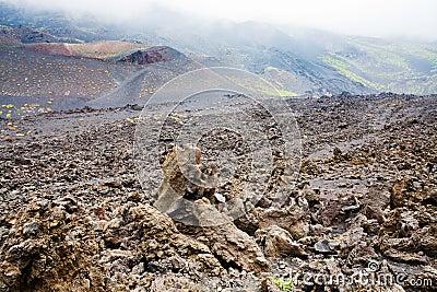 Lava rocks close up on volcano slope of Etna