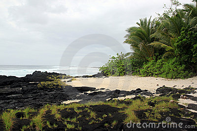 Lava on the sand beach