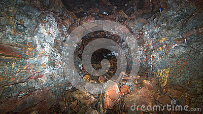 A lava tube tunnel