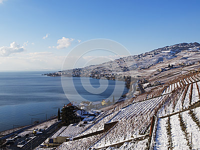 Lavaux Vineyards in Switzerland in Winter with Snow