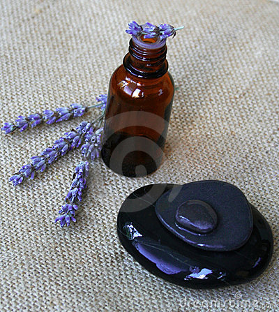 Free Lavender And Bottle Of Essential Oil Stock Photography - 10515442