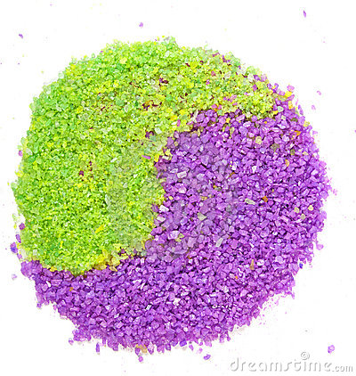 Free Lavender And Green Tea Sea Salt In Yin-yang Sign Stock Photos - 13532813