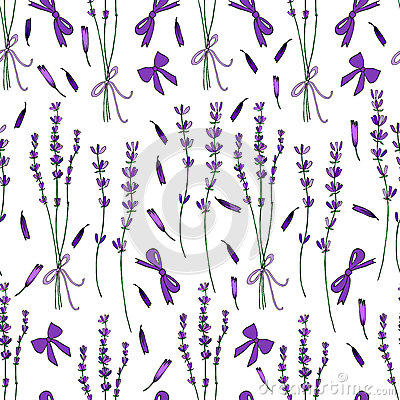 Lavender bouquet seamless vector pattern hand drawn graphic flower texture background, sketch purple bow isolated on Vector Illustration