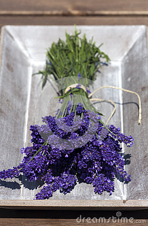 Lavender bunch in wooden bowl