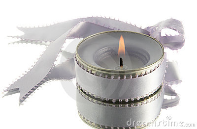 Lavender candle with ribbon