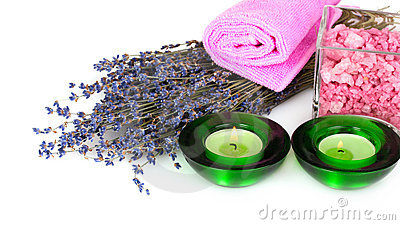 Lavender candle and towel