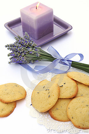 Lavender cookies and candle