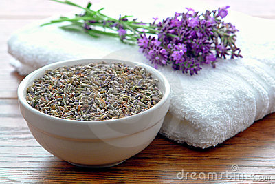 Lavender Flower Seeds and Fresh Flowers in a Spa