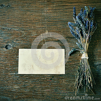Free Lavender Flowers And Blank Signboard On A Rustic Table Stock Image - 43843611