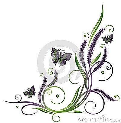 Lavender, flowers, butterflies