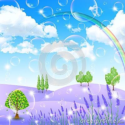 Lavender Flowers Landscapes
