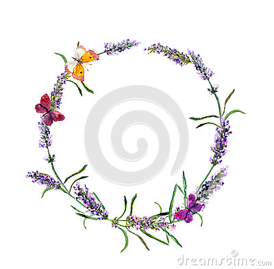 Free Lavender Flowers Wreath, Butterflies. Watercolor Stock Image - 98570011