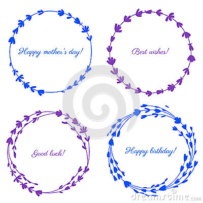 Lavender flowers wreath isolated on white background, Round colorful frame, hand drawn doodle vector sketch herbal Vector Illustration