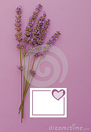 Lavender invitation vertical, heart