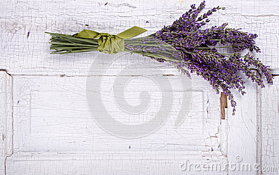 Lavender laying on an old door panel