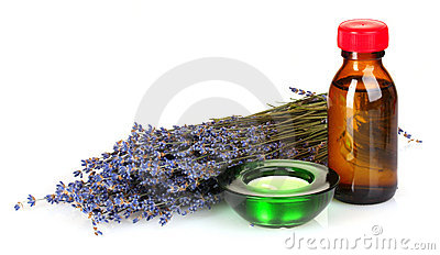 Lavender and oil in bottle