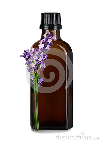 Free Lavender Oil In Brown Bottle Isolated On White Background Stock Image - 96468971