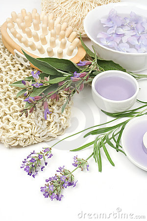 Lavender, sage and spa massage set