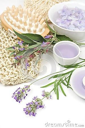 Lavender, sage and spa massage set