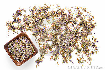 Lavender Seeds over White Background