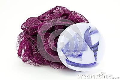 Lavender soap and purple bath sponge