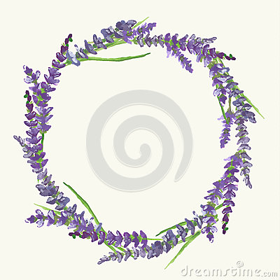 Free Lavender Wreath, Watercolor Painting, Illustration Stock Image - 65790031