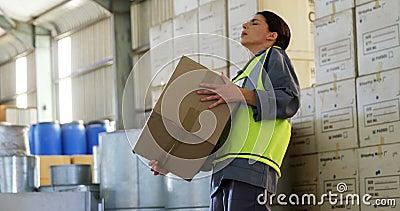 Lavoratrice che soffre dal dolore alla schiena mentre tenendo scatola pesante 4k archivi video
