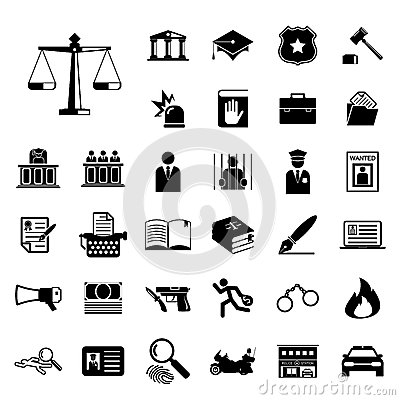 Free Law And Police Icon Set Royalty Free Stock Photo - 43876445